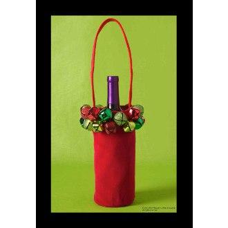 Jingle Bell Wine Bottle Bag, Red