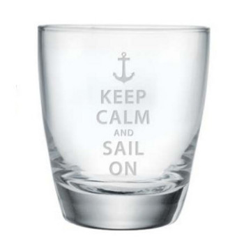 Keep Calm And Sail On Stemless Glasses S/4