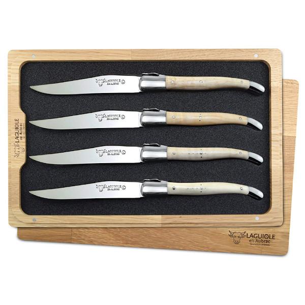 Laguiole en Aubrac Steak Knives Wavy Maple Set of 4
