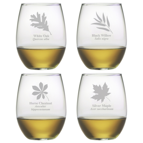 Assorted Leaf Botanicals Stemless Wine Glasses (set of 4)