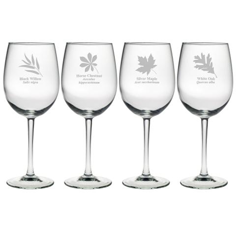 Assorted Leaf Botanicals Stemmed Wine Glasses (set of 4)