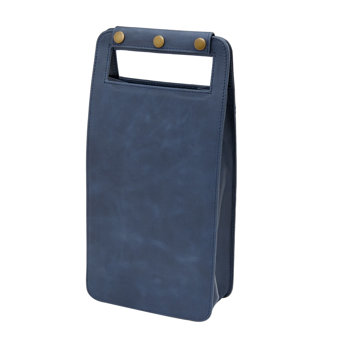 Leather Two Bottle Wine Carrier, Sonoma Navy