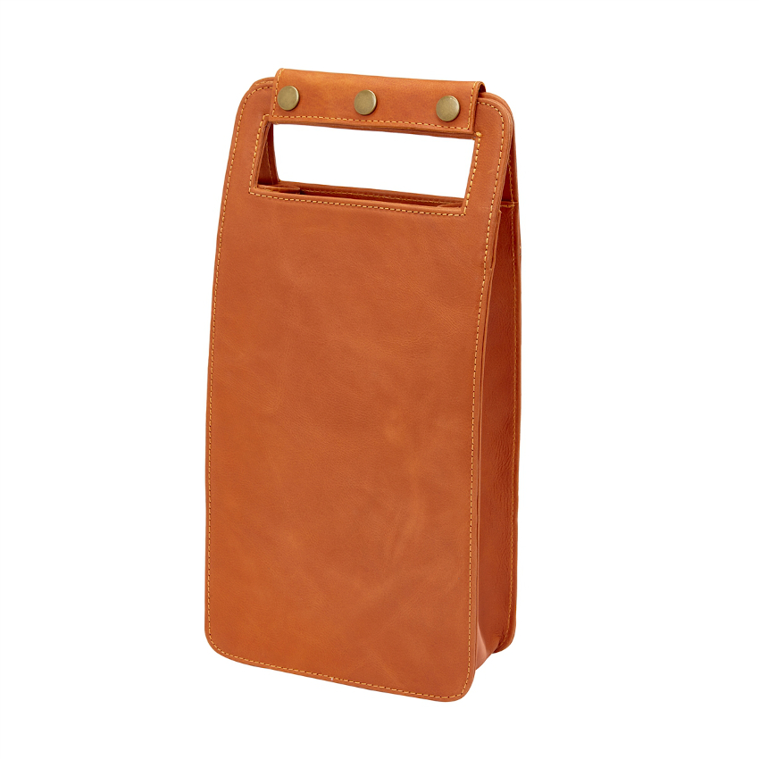 Leather Two Bottle Wine Carrier, Sonoma Orange