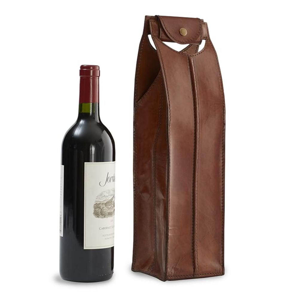 Genuine Leather Wine Bag 1 Bottle, Brown