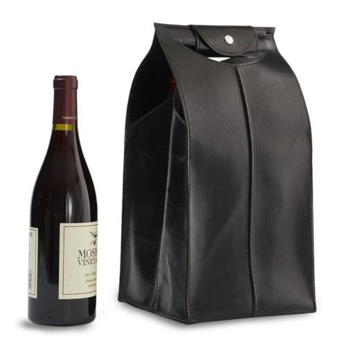 Genuine Leather 4 Bottle Wine Bag, Black