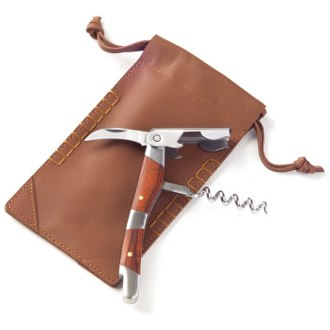 Corkscrew with Bridle Tan Leather Pouch