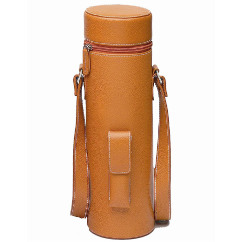 Genuine Leather Single Bottle Tote, Brown