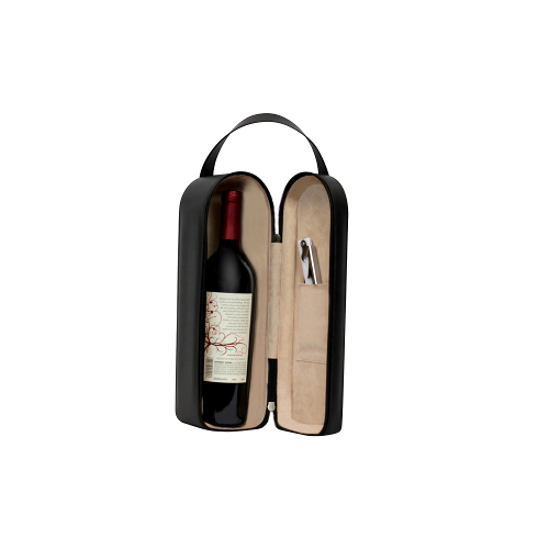 Bonded Black Leather Single Wine Bottle Carrying Case