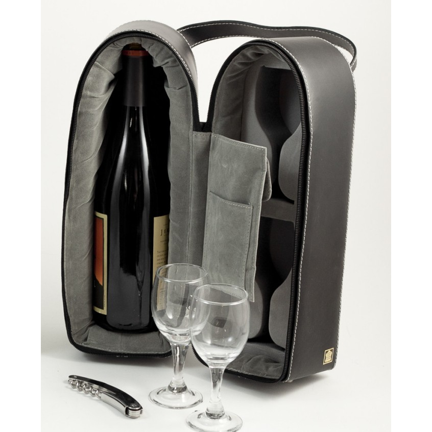 Genuine Leather Wine Carrier w/ 2 Glasses