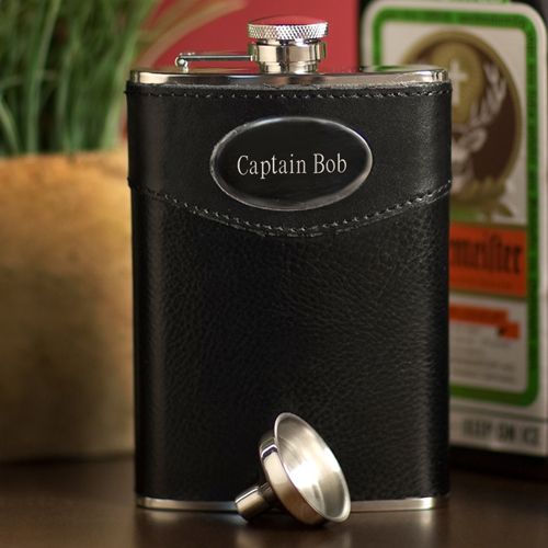 Personalized 8 oz. Leather Flask with Funnel