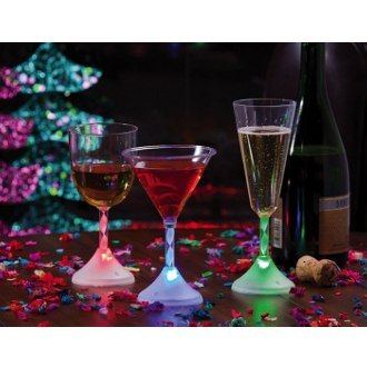 Assorted LED Acrylic Glasses Martini, Champagne, Goblet