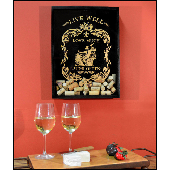 Live Well Wine Cork Catcher Wall Display
