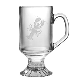 Lobster Etched Footed Mug Glass Set