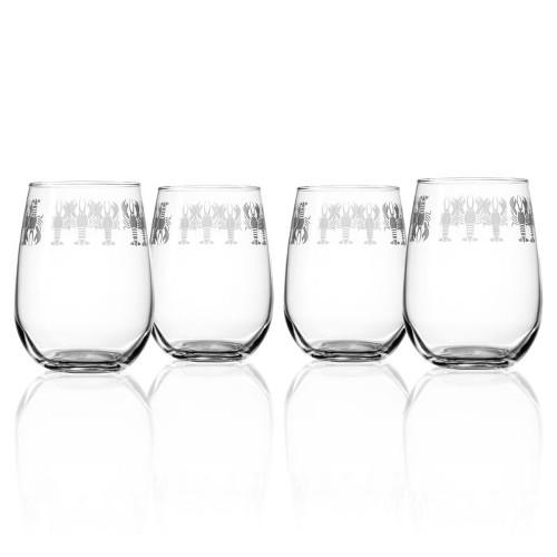 Lobster Pod Stemless Wine Glasses (set of 4)