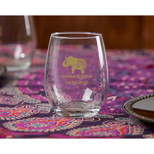 Personalized Lucky Elephant Stemless Wine Tumbler Wedding Favors (set of 36)