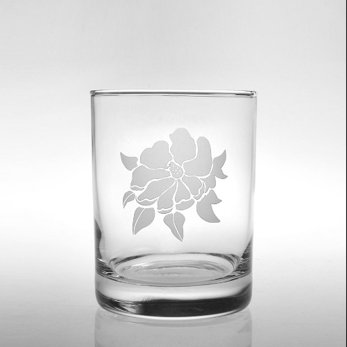 Etched Magnolia Double Old Fashioned Glasses (set of 4)