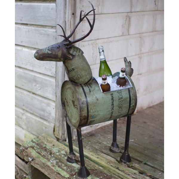 Reclaimed Metal Barrel Deer Planter or Wine Cooler