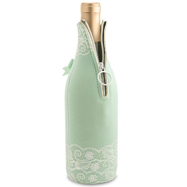Mint Lace Neoprene Wine Bottle Koozie