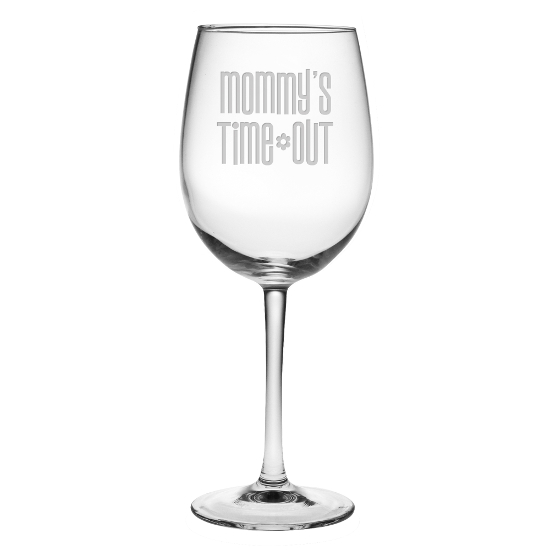 Mommy's Time Out Stemmed Wine Glasses (set of 4)