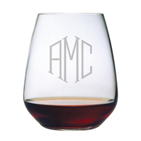 Monogrammed Stemless Wine Glasses (set of 4)
