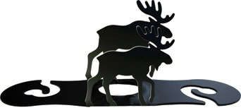 Moose Wrought Iron Wine Glass Caddy
