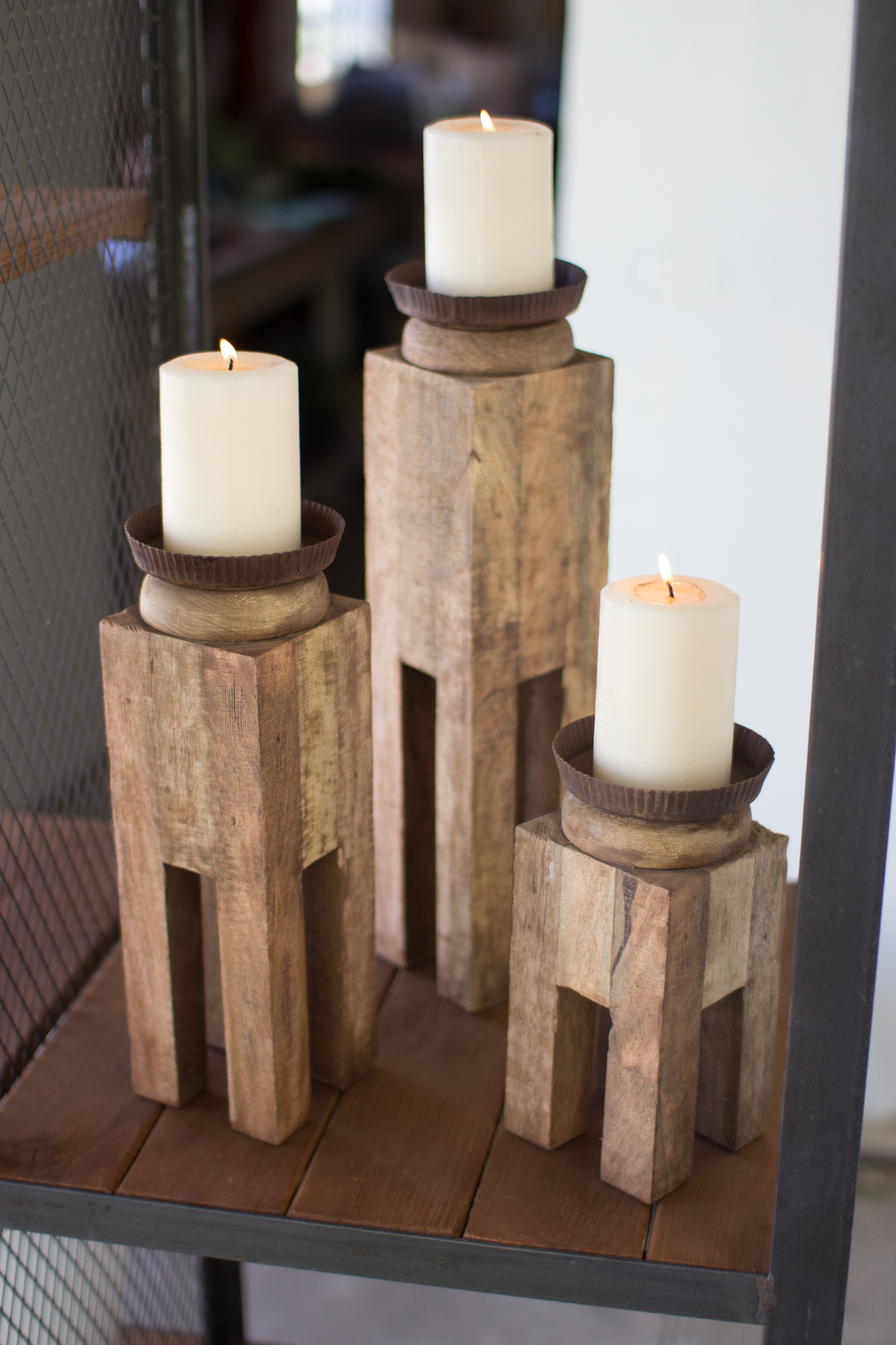 3 Square Recycled Wood Candle Holders