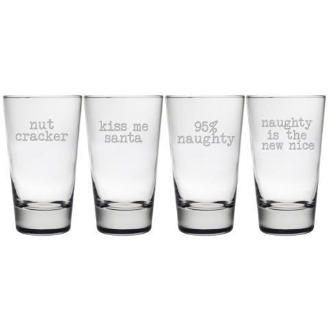 Naughty Christmas Highball Glasses (set of 4)