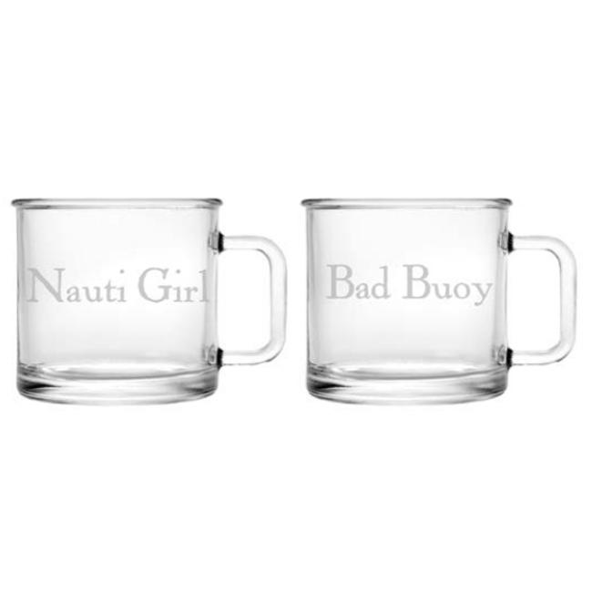 Nauti Girl Bad Buoy Camp Mug Glass Set Of 2