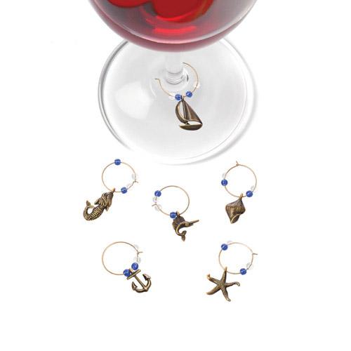 Nautical Wine Charms Set of 6