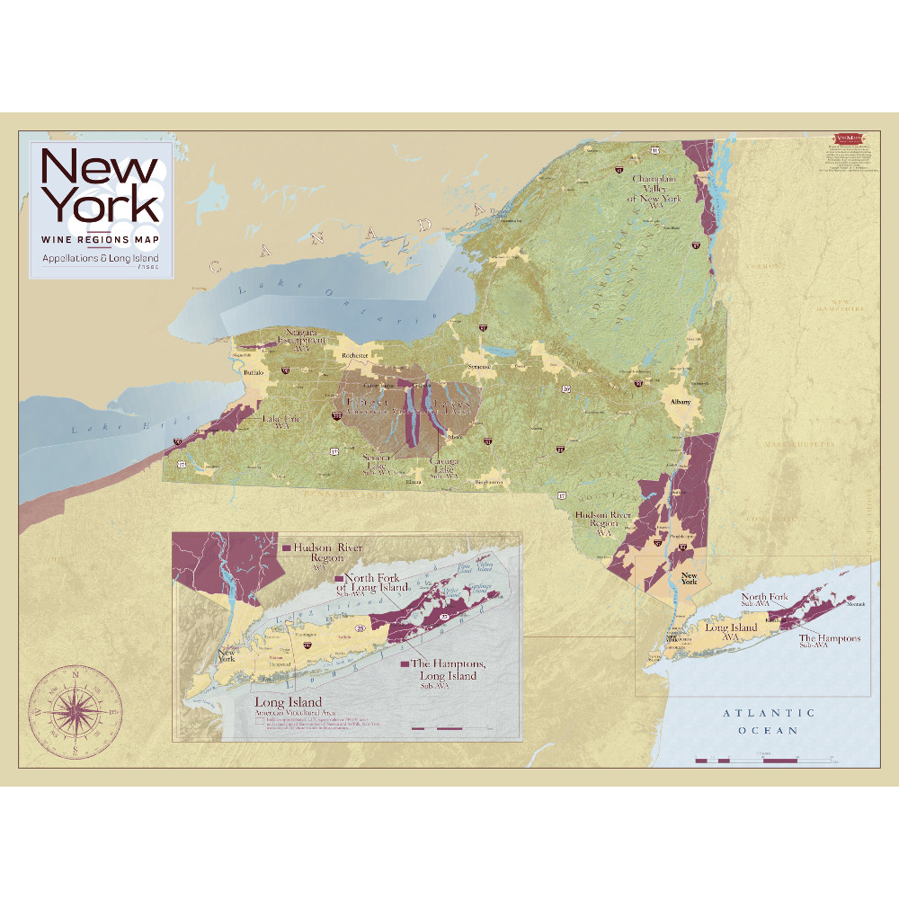 New York Wine Regions Map – Appellations & Long Island Inset
