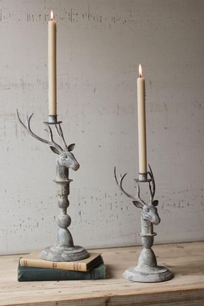 Set of 2 Metal Deer Candle Holders