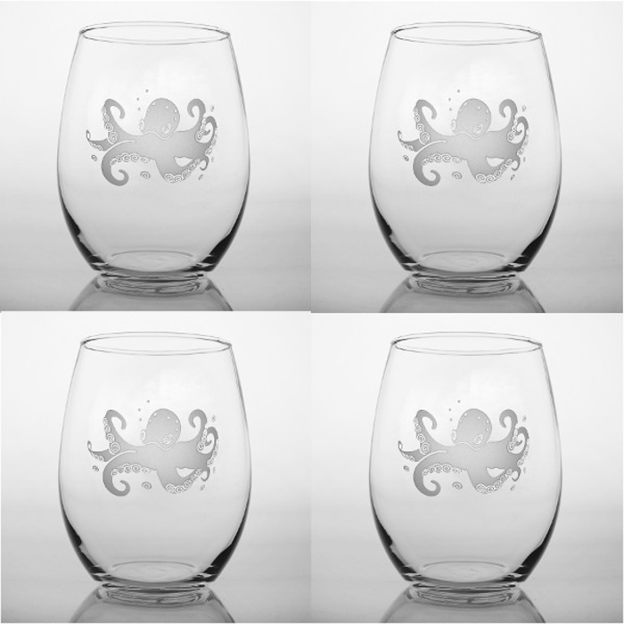 Octopus Stemless Wine Tumbler Glasses  Set of 4