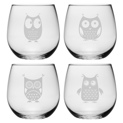 Assorted Owls Stemless Wine Glasses (set of 4)