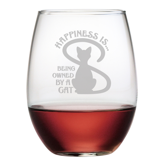 Owned By A Cat Stemless Wine Glasses (set of 4)