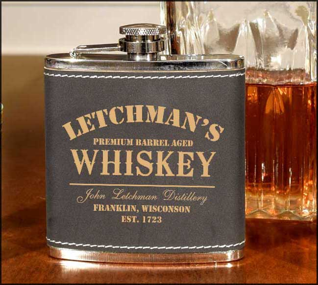 'Whiskey Design' Personalized Leather Flask