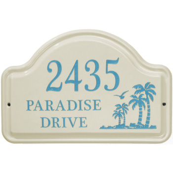 Palm Tree Ceramic Arched Address Plaque