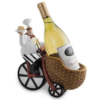 Pastry Chef Riding Bike Black White with Basket Design Bottle Holder