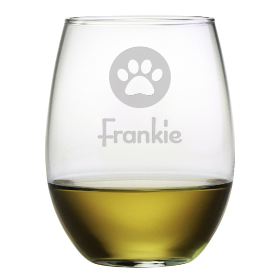 Personalized Paw Print Stemless Wine Glasses (set of 4)