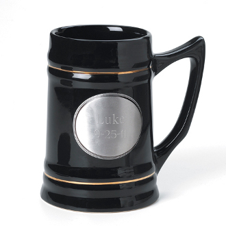 Personalized Ceramic Beer Mug with Pewter Emblem