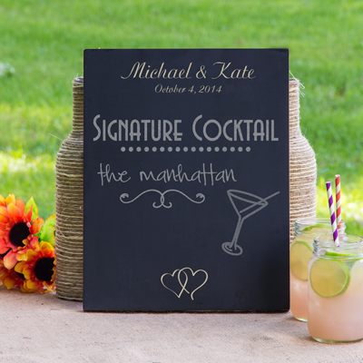 Custom Double Heart Wedding Chalkboard Sign
