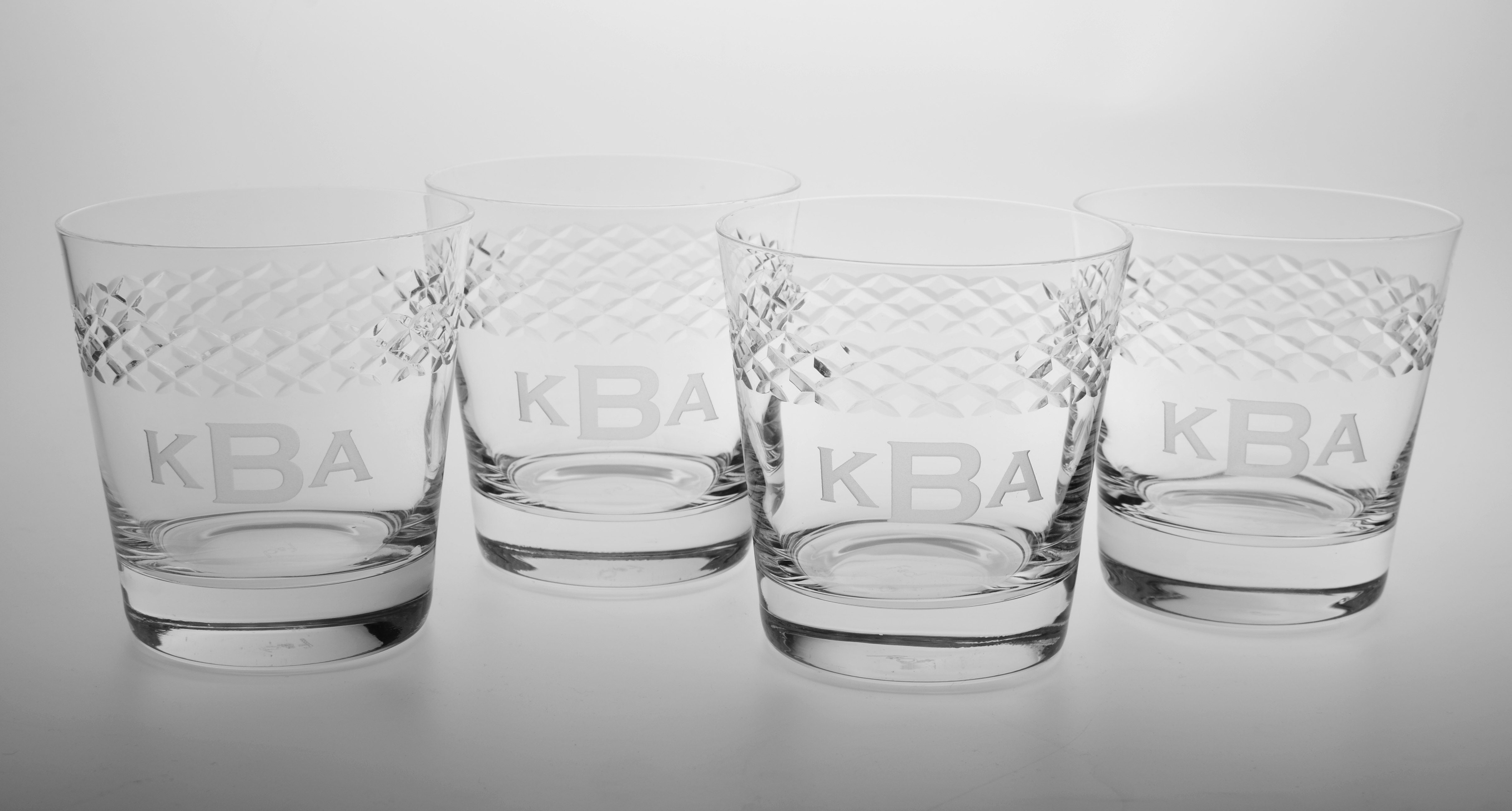 Personalized Double Old Fashion Glasses with Diamond Band (set of 4)