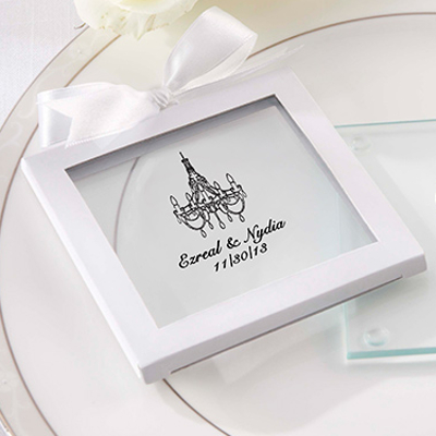 Personalized Chandelier Glass Coaster Wedding Favors (set of 36)