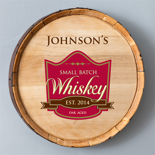 Personalized Oak Aged Whiskey Barrel Sign