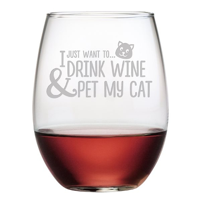 I Just Want to Drink Wine and Pet My Cat Stemless Wine Glasses (set of 4)