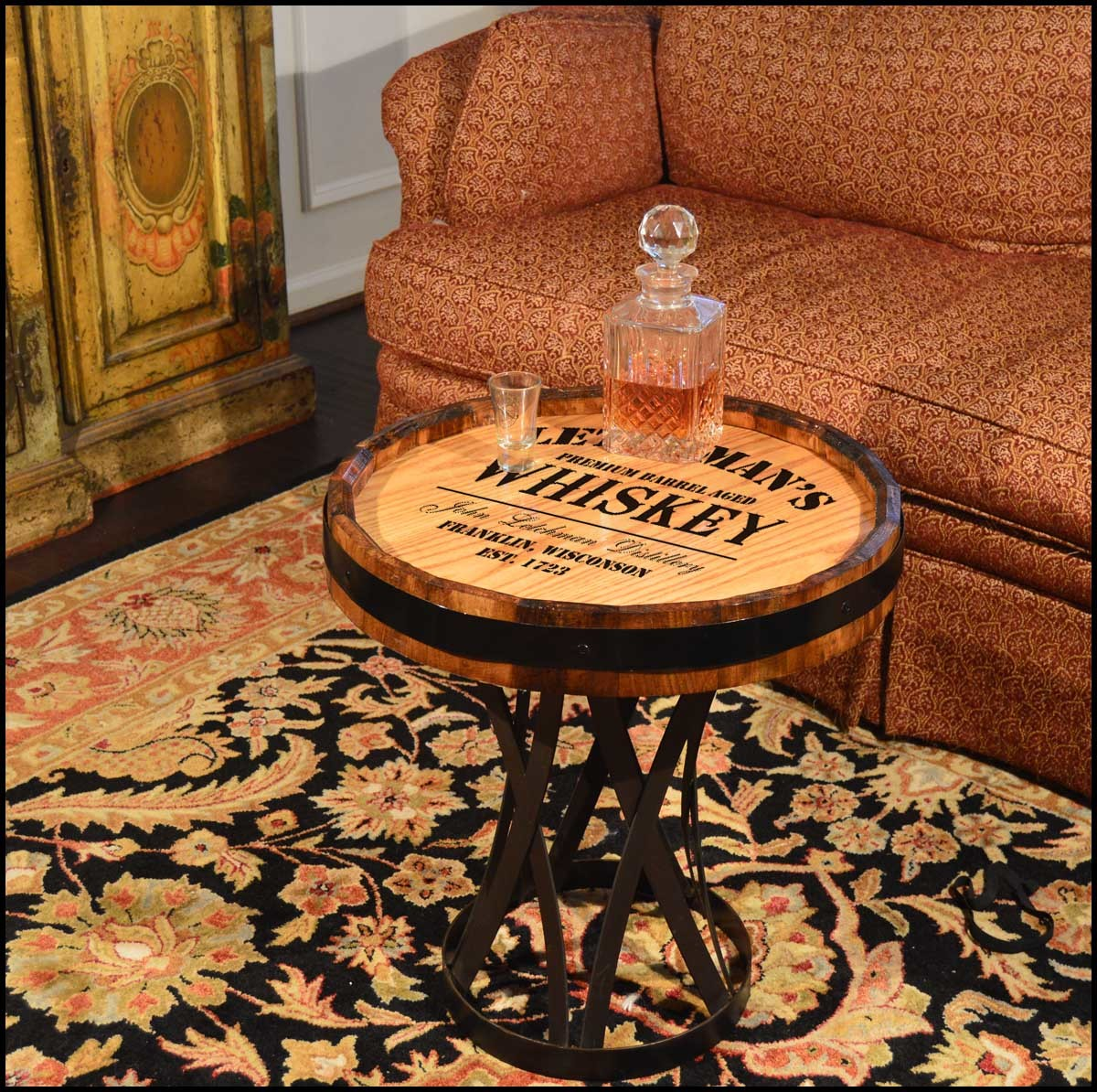 'Whiskey Design' Personalized Quarter Barrel Coffee Table