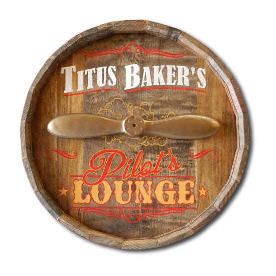 Personalized Pilot's Lounge Quarter Barrel Sign
