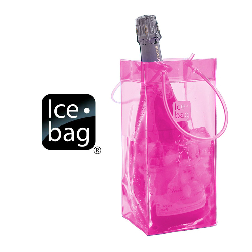 Ice Bag Collapsible Wine Cooler Bag, Pink