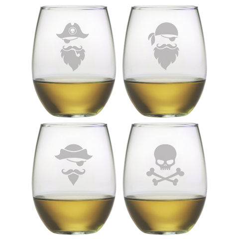 Pirate Faces Stemless Wine Glasses (set of 4)