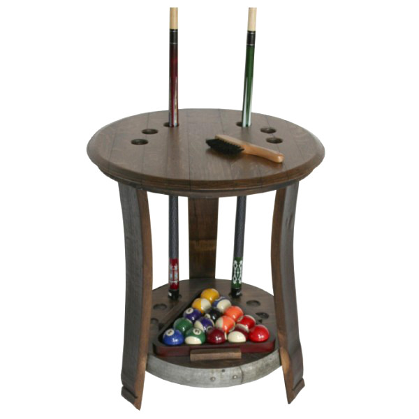 Wine Barrel Game Room End Table Billiard Pool Cue Rack