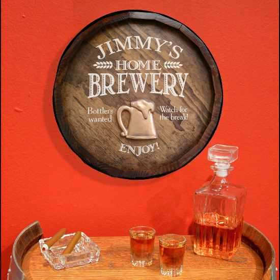 Personalized Home Brewery Quarter Barrel Sign